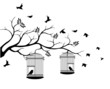 illustration flying birds with a love for the bird in the cage