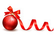Holiday background with red gift bow with gift ball. Vector illu