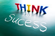 Think for success concept, words on blackboard