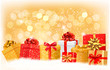 Christmas background with gift boxes and snowflakes. Vector illu