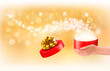 Christmas background with gift magic box. Concept of giving pres