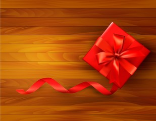 Holiday background with gift box and red bow. Vector illustratio