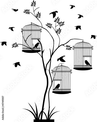 Keuken foto achterwand Vogels in kooien illustration silhouette of birds flying and bird in the cage