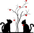 silhouette of a cat in the tree of love