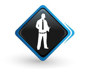 icône expertise sur bouton carré bleu design