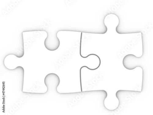 isolated two puzzle pieces with clipping path