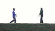 Couple jogging outdoors, super slow motion, shot at 480fps