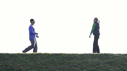 Couple jogging outdoors, super slow motion, shot at 480fps