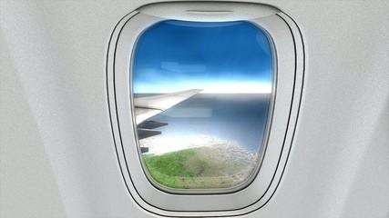 Jet plane cabin in-flight animation.
