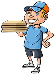 Cartoon pizza delivery boy