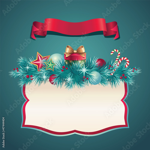 vintage christmas greeting cover ribbon banner