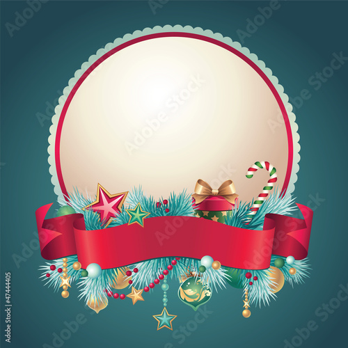 Christmas vintage greeting banner badge
