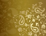 Fototapety wedding template design, paisley floral pattern , India