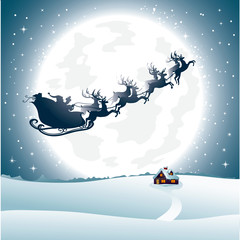 Santa's Sledges and moon Landscape