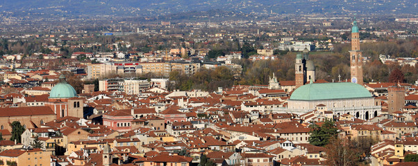 Panorama of the city of vicenza with the Basilica