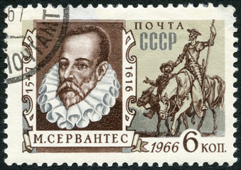 USSR - 1966: shows portrait of Miguel de Cervantes Saavedra