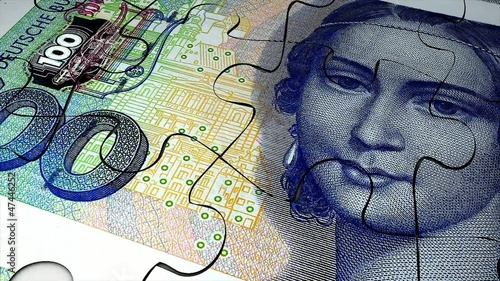 Germany Deutsche mark banknote puzzle animation.