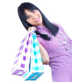 Women with shopping bags, isolated-studio shot
