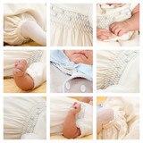 Collage of nine photo of baby.