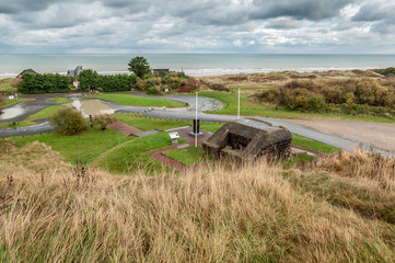 Remains of a German bunker at Omaha Beach