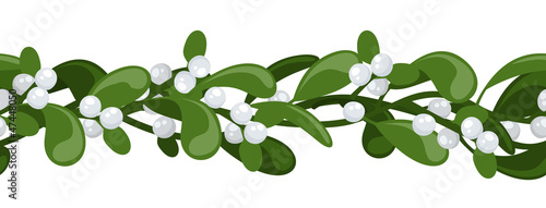 Horizontal vector seamless background with Christmas mistletoe.