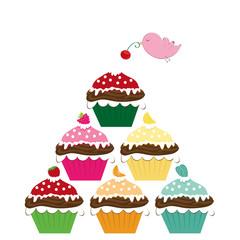 Vogel dekoriert Cupcakes