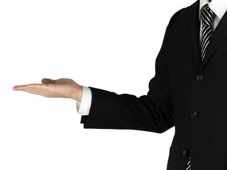 A business man showing something on his hand white background