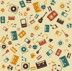 Vector background seamless. Retro Music and sound.