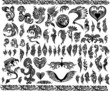 Iconic Dragons border frames Tattoo Tribal Vector Set
