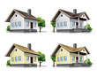 Family houses cartoon icons. EPS10 vector file.