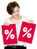 Woman shows discount on two red boards