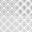 Seamless black and white damask patterns
