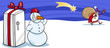 Santa Claus and snowman cartoon card