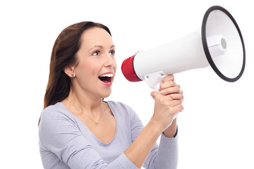 Woman shouting through megaphone