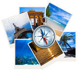 Fototapety Traveling photos collage with compass on white background