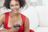 African American Girl Young Woman Drinking Red Wine