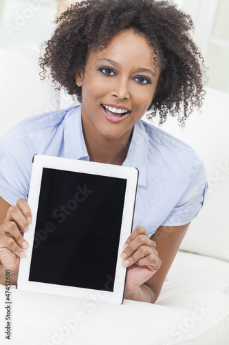 African American Girl Young Woman Tablet Computer