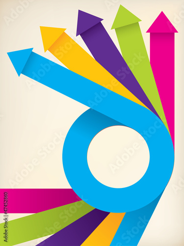 Curving color ribbons with arrows