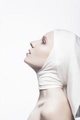 Grace. Cult. Praying Religious Woman - Church Concept