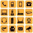 Vector Set of 16 telecommunication icons