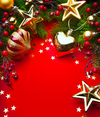 art Christmas Decorations on red background