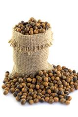 chestnuts seed in sacks color brown