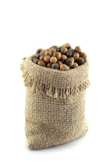 chestnuts seed in sacks color brown