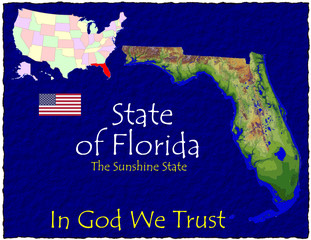 Florida USA State map location nickname motto