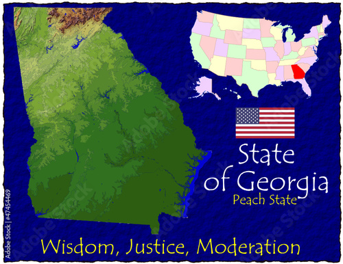 Georgia USA State map location nickname motto