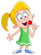 Girl licking lollipop