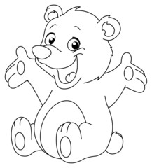 Outlined happy teddy bear