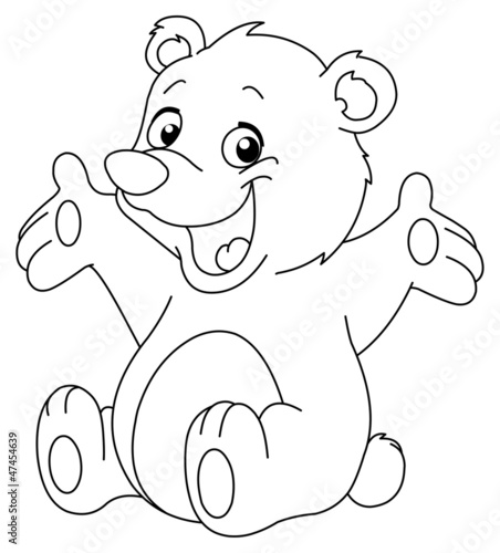 Outlined happy teddy bear - 47454639