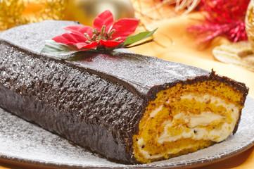 Tronchetto di Natale - Christmas cake, closeup