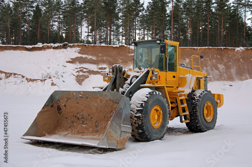 Wheel Loader at Sand Pit in Winter